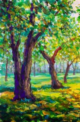 Image Peinture à l'huile originale, style contemporain. Grands grands arbres de chênes dans la forêt du parc - paysage printanier vert ensoleillé