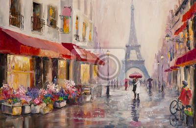 Image Peinture à l'huile originale sur toile - Paris - Tour Eiffel - Une paire d'amants sous un parapluie - Art Moderne