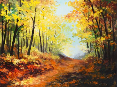 Image Peinture à l'huile paysage - la forêt d'automne coloré