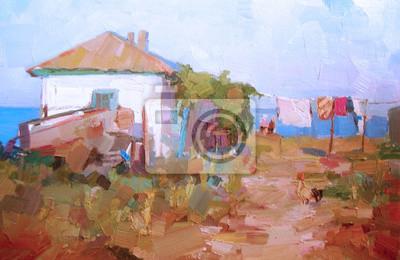 Peinture à Lhuile Paysage Rural Une Maison Dans Le Village