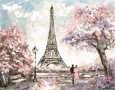 Image Peinture à l'huile, Street View de Paris. Paysage tendres, printemps