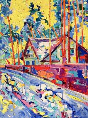Image peinture à l'huile sur toile de village d'hiver paysage