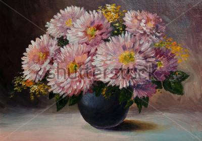 Image Peinture à l'huile sur toile - nature morte de fleurs sur la table