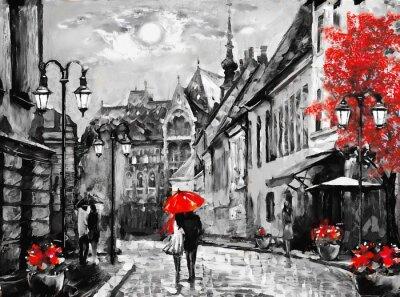 Image Peinture à l'huile sur toile ville européenne. Hongrie. Vue sur la rue de Budapest. Ouvrages d'art. Personnes sous un parapluie rouge. Arbre. Nigrht et la lune.