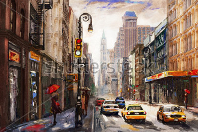 Image peinture à l'huile sur toile, vue sur la rue de New York, taxi jaune, oeuvre d'art moderne, ville américaine, illustration New York