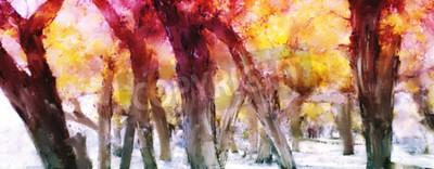 Image Peinture abstraite d'une forêt colorée avec des feuilles jaunes en automne
