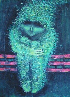 Image Peinture acrylique abstraite. Solitude autrement petit homme vert. Décoration d'intérieur.