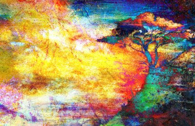 Image Peinture, Coucher soleil, mer, arbre, papier peint, paysage ...