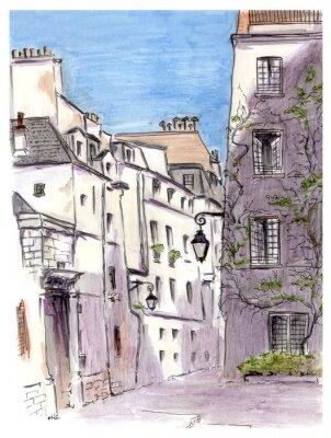 Image Peinture de la rue de la ville européenne de Paris