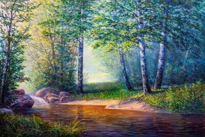 Image peinture de paysage de cascade