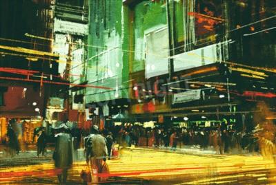 Image Peinture de paysage urbain, foule de gens à une rue passante occupée