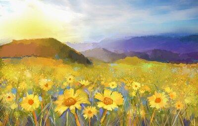 Image Peinture fleur marguerite blossom.Oil d'un coucher de soleil rural