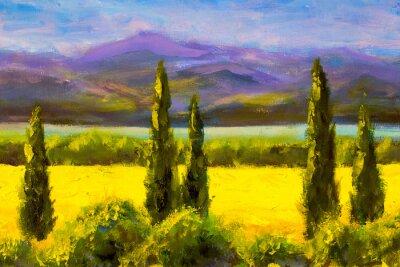 Image Peinture italie toscane cyprès paysage champ montagnes buissons horizontalement art