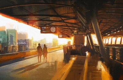 Image peinture montrant quelques attendant un train sur la station