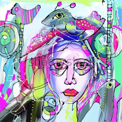 Image peinture numérique abstraite originale de visage humain, composition colorée dans l'art moderne contemporain, parfait pour la décoration d'intérieur, décoration de pages, web et autres, ill