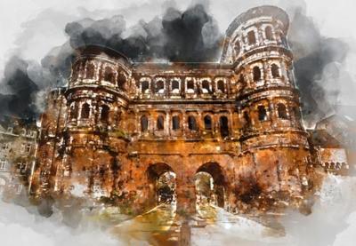 Image Peinture numérique d'aquarelle de la porte Nigra (porte noire) dans la ville de Trèves, Allemagne. Il s'agit d'une célèbre grande porte de la ville romaine. Vue de face. Patrimoine mondial de l'UNESCO