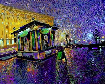 Image peinture numérique d'art de la nuit la ville de Kiev, illustration vectorielle