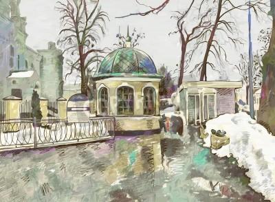 Image peinture numérique originale de l'hiver impressionnisme moderne paysage urbain
