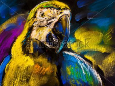 Image Peinture originale au pastel sur carton. Tableau moderne d'un beau perroquet