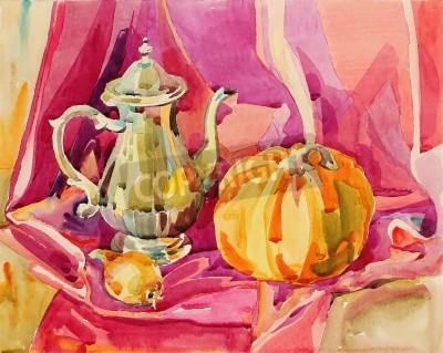 Image peinture originale d'aquarelle de main morte avec pot de thé d'argent et le potiron, la composition de l'art, illustration vectorielle
