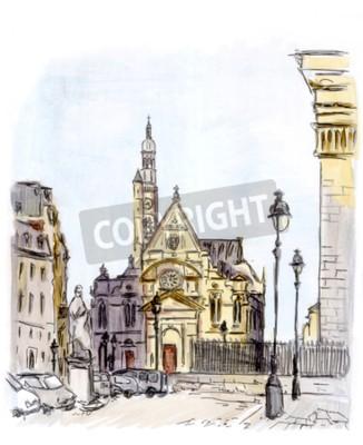 Image Peinture, rue, européen, ville, paris, aquarelle