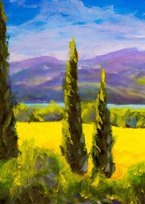 Image Peinture, toscane, italie, cyprès, paysage, montagnes, buissons, verticalement