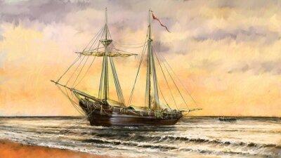 Image Peintures à l'huile paysage de la mer. Navires, bateaux, pêcheurs. Art numérique