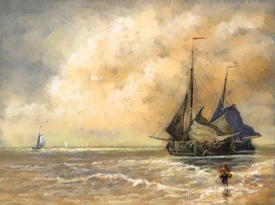 Image Peintures à l'huile paysage, mer, navires, bateaux