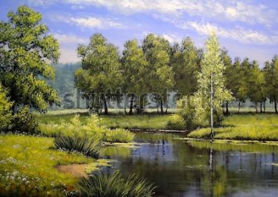 Image Peintures à l'huile paysage, rivière et arbres, étang, art