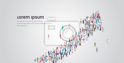 Image people crowd gathering in shape of financial arrow up symbol social media community successful growth concept different occupation employees group standing together full length horizontal copy space