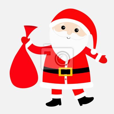 Image Père Noël Portant Sac Cadeau Sac Chapeau Rouge Costume Grande