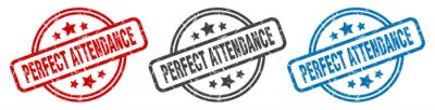 Image perfect attendance stamp. perfect attendance round isolated sign. perfect attendance label set