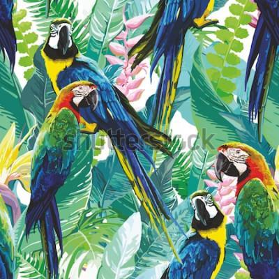 Image perroquets colorés et fleurs exotiques
