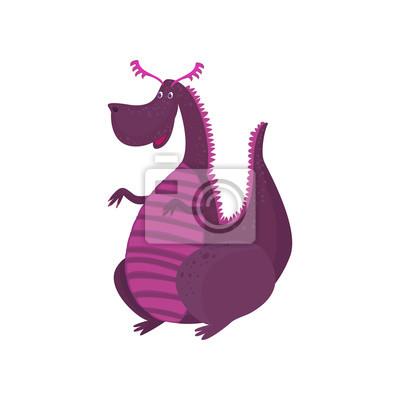 Personnage De Dessin Animé De Petit Dragon Pourpre Animal Mythique