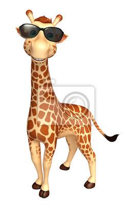 3599e356a6f2b Personnage de dessin animé girafe avec lunettes de soleil peintures ...