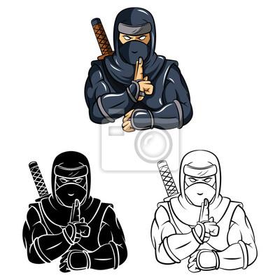 Personnage De Dessin Anime Ninja Livre De Coloriage Peintures Murales Tableaux Ninja Vetements Karate Myloview Fr