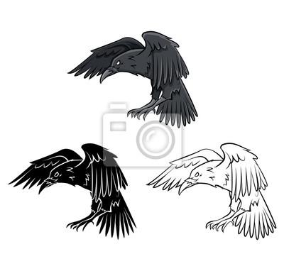 Personnage De Dessin Anime Raven Livre De Coloriage Peintures Murales Tableaux Corbeau Corneille Coloration Myloview Fr