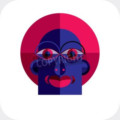 Image Personnalité face colorée illustration vectorielle faite de figures géométriques. Image de conception plate, style cubisme.