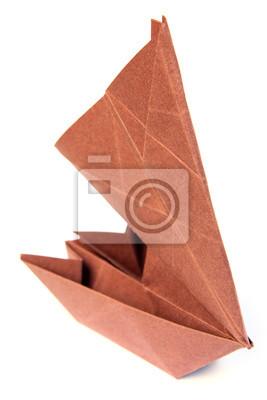 Petit Bateau Voilier Catamaran En Papier Peintures Murales Tableaux Origami Pliage Passe Temps Myloview Fr