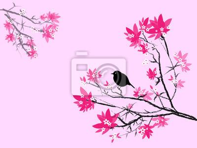 Petit Oiseau Noir Sur Branche De Cerisier Rose Et Noir Sur Aime