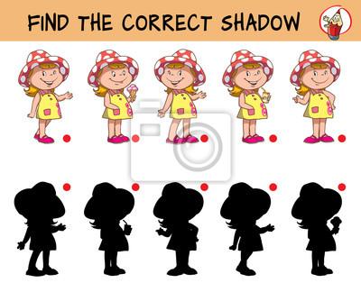 Image Petite Fille Drôle Dans Un Chapeau Trouvez Lombre Correcte