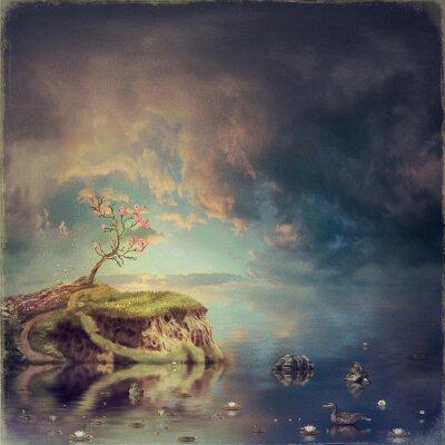 Image Petite île avec un arbre de sakura sur la rivière