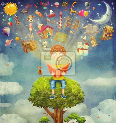 Peu, Garçon, séance, arbre, lecture, Livre, objets ...