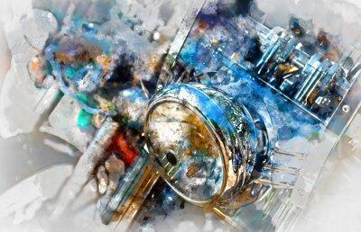 Image Phare de la moto. Aquarelle numérique
