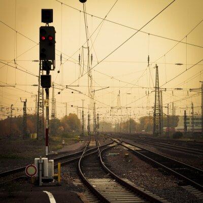 Image Photographie mobile ton confondre voies ferrées crépuscule
