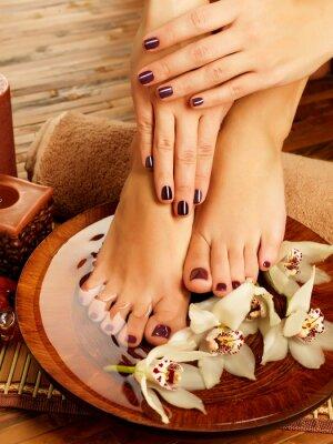 Image pieds femelle au salon de spa sur la procédure pédicure