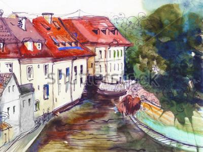 Image Pittoresque tchèque petite ville aquarelle illustration affiche peinture à l'huile toile main architecturale dessin fond textile modèle carte postale livre croquis