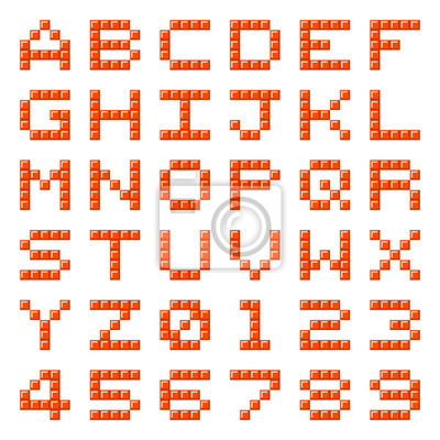Image: Pixel alphabet letters and numbers bloc