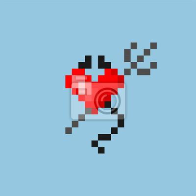 Image Pixel Art Coeur Avec Des Cornes Et Une Queue Dans Le Style Du