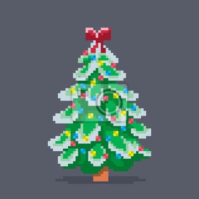 Image Pixel Art Décoré De Sapin De Noël